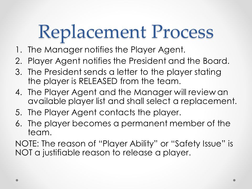 Replacement Process The Manager notifies the Player Agent.