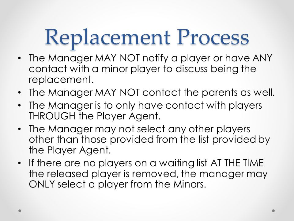 Replacement Process The Manager MAY NOT notify a player or have ANY contact with a minor player to discuss being the replacement.