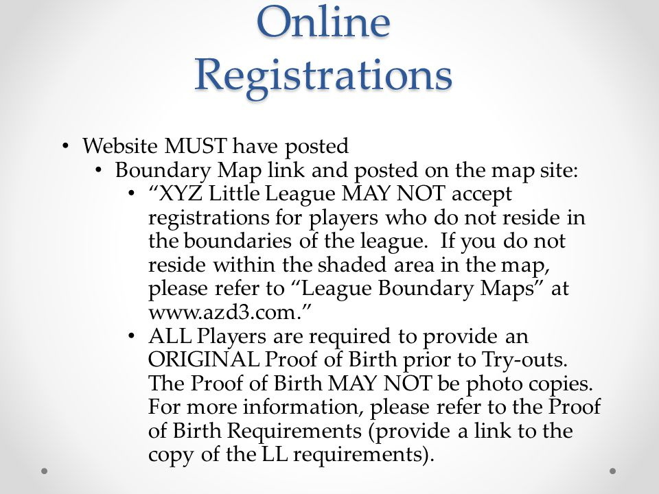 Online Registrations Website MUST have posted