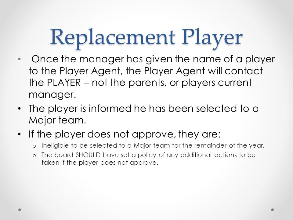 Replacement Player
