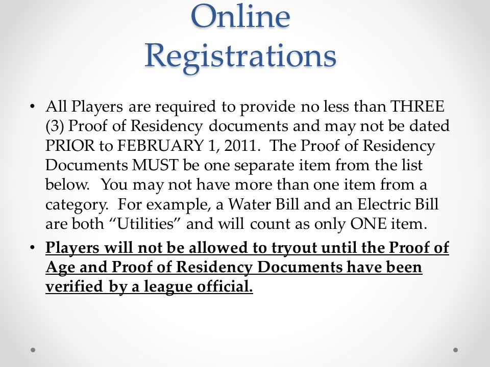 Online Registrations