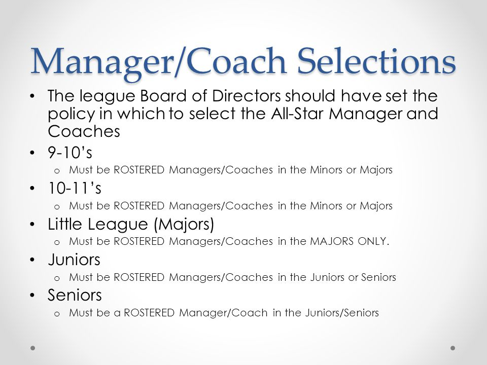 Manager/Coach Selections