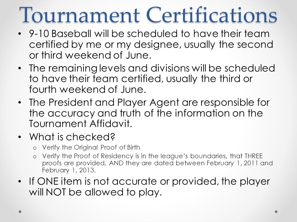 Tournament Certifications