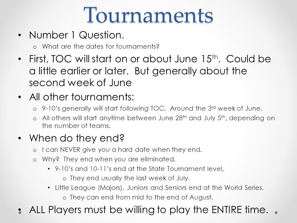 Tournaments Number 1 Question.