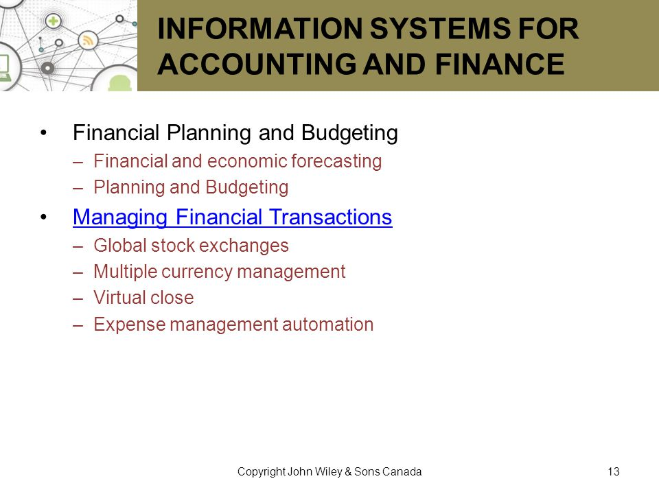 Information Systems for Accounting and Finance