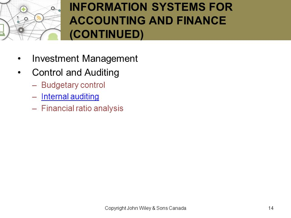 Information Systems for Accounting and Finance (continued)