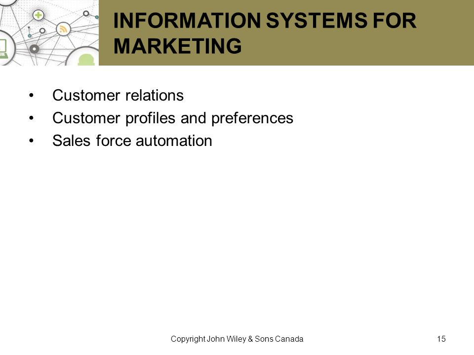 Information Systems for Marketing