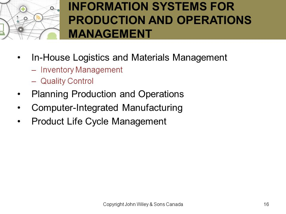 Information Systems for Production and Operations Management