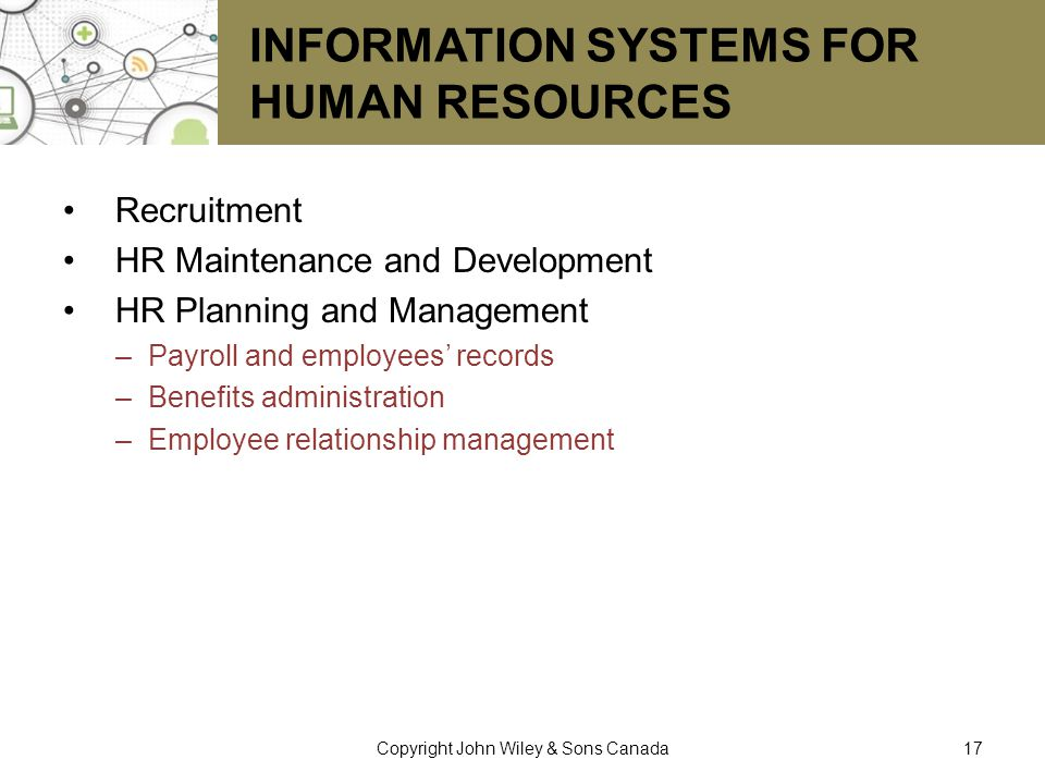 Information Systems for Human Resources