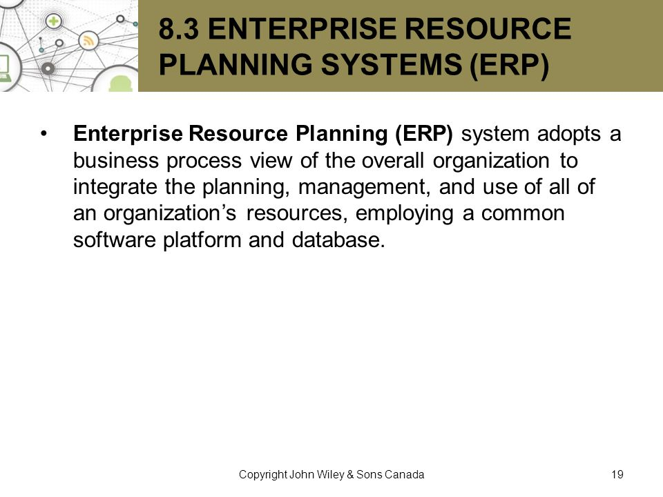 8.3 Enterprise Resource Planning Systems (ERP)
