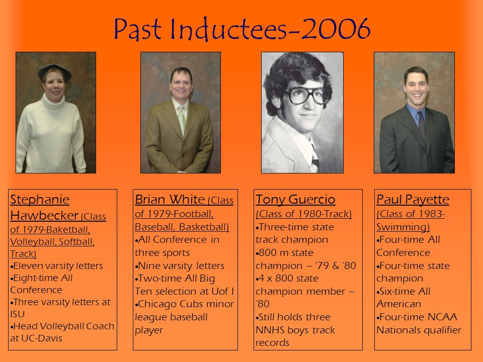 Past Inductees-2006 Stephanie Hawbecker (Class of 1979-Baketball, Volleyball, Softball, Track) Eleven varsity letters.