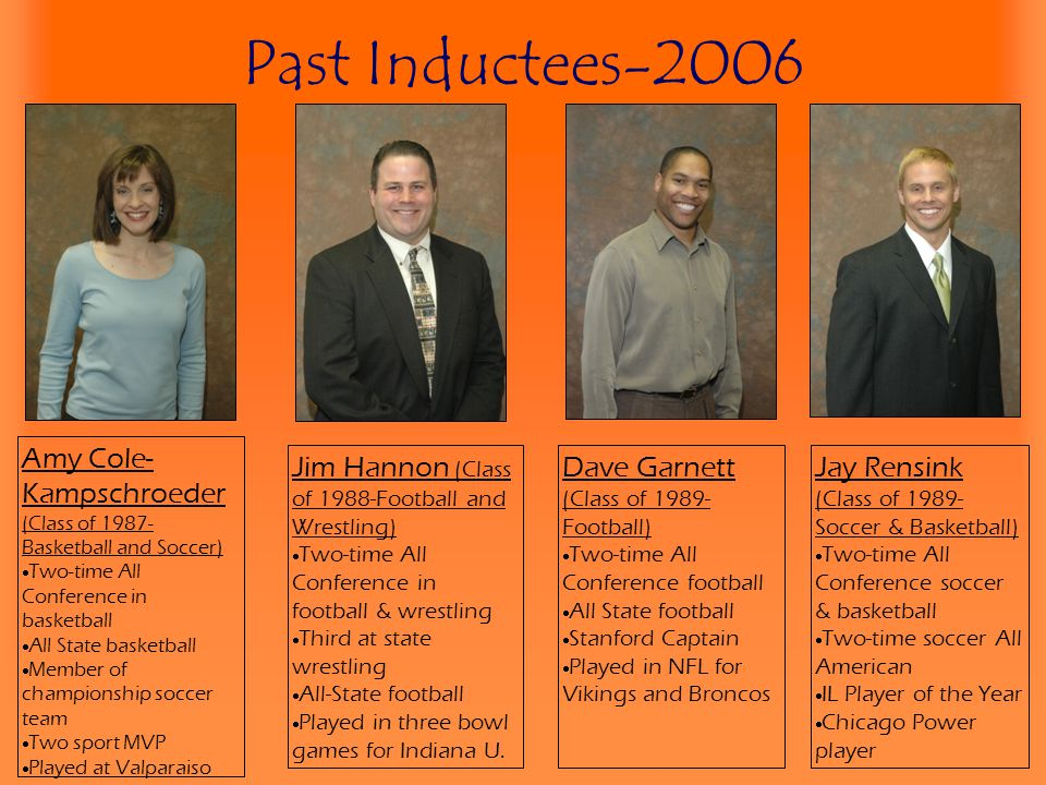 Past Inductees-2006 Amy Cole-Kampschroeder (Class of 1987-Basketball and Soccer) Two-time All Conference in basketball.