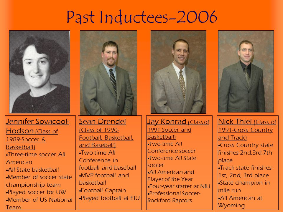 Past Inductees-2006 Jennifer Sovacool-Hodson (Class of 1989-Soccer & Basketball) Three-time soccer All American.