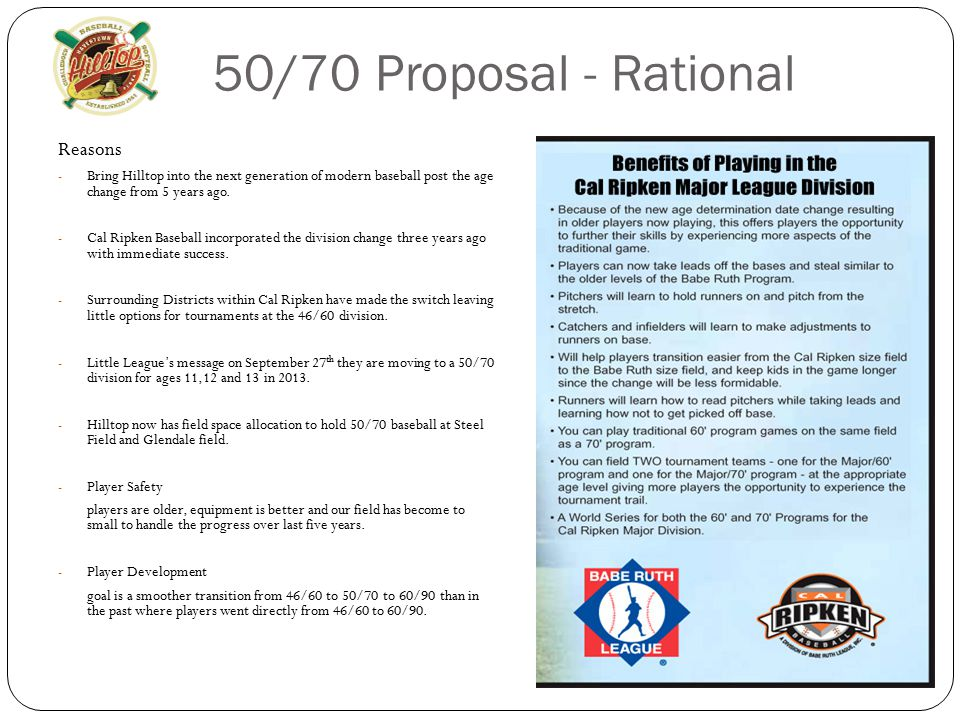 50/70 Proposal - Rational Reasons