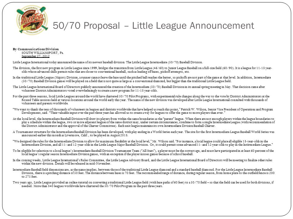 50/70 Proposal – Little League Announcement