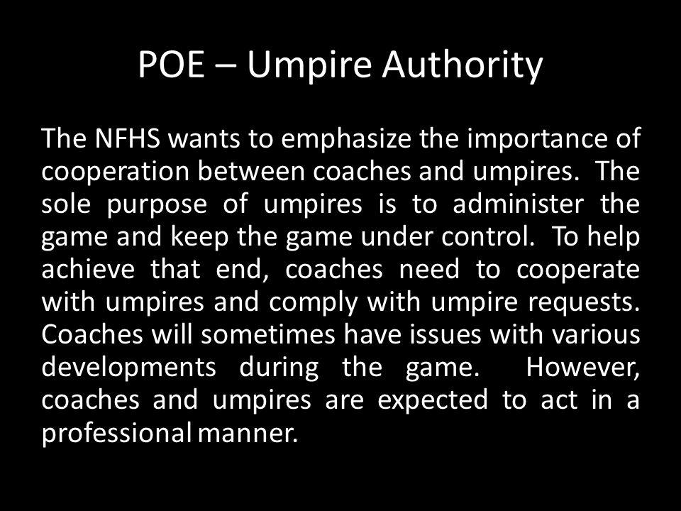 POE – Umpire Authority