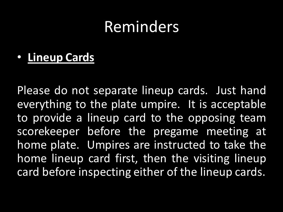 Reminders Lineup Cards