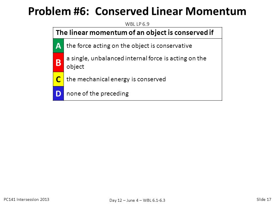 Problem #6: Conserved Linear Momentum