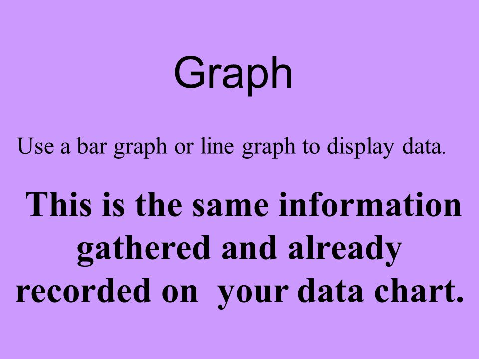 Graph Use a bar graph or line graph to display data. This is the same information gathered and already recorded on your data chart.