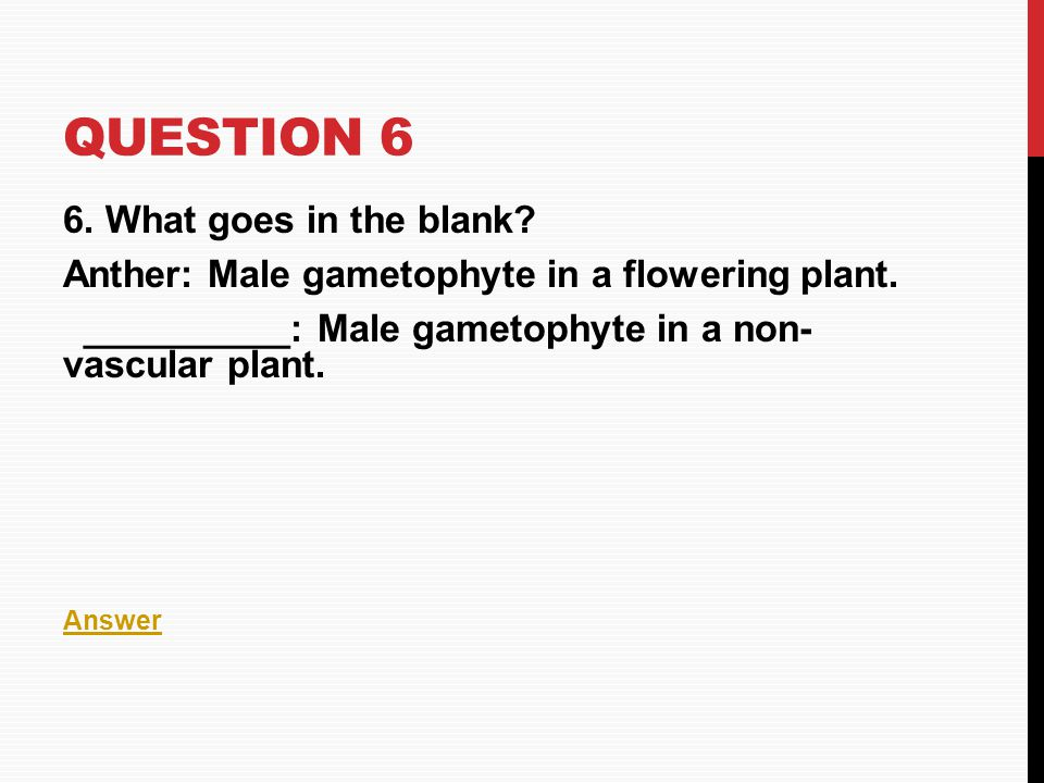 Question 6 6. What goes in the blank
