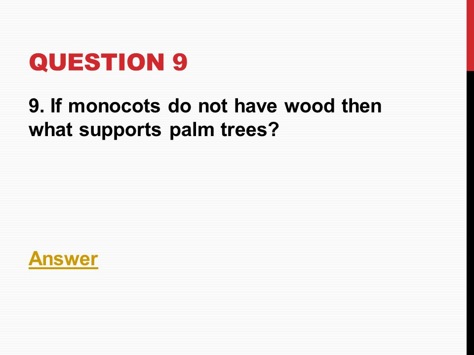 Question 9 9. If monocots do not have wood then what supports palm trees Answer