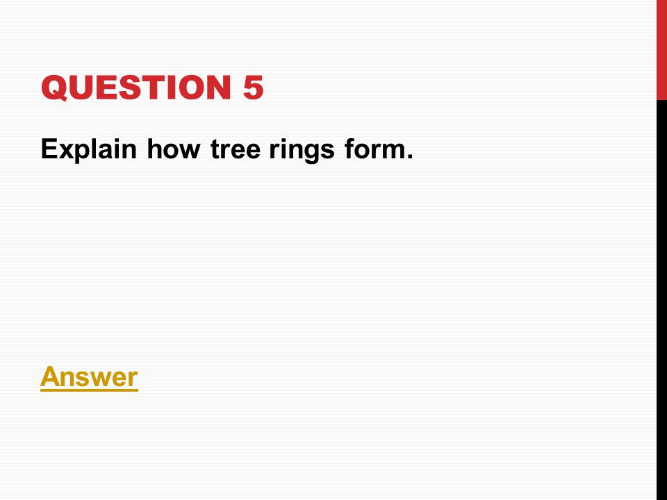 Question 5 Explain how tree rings form. Answer
