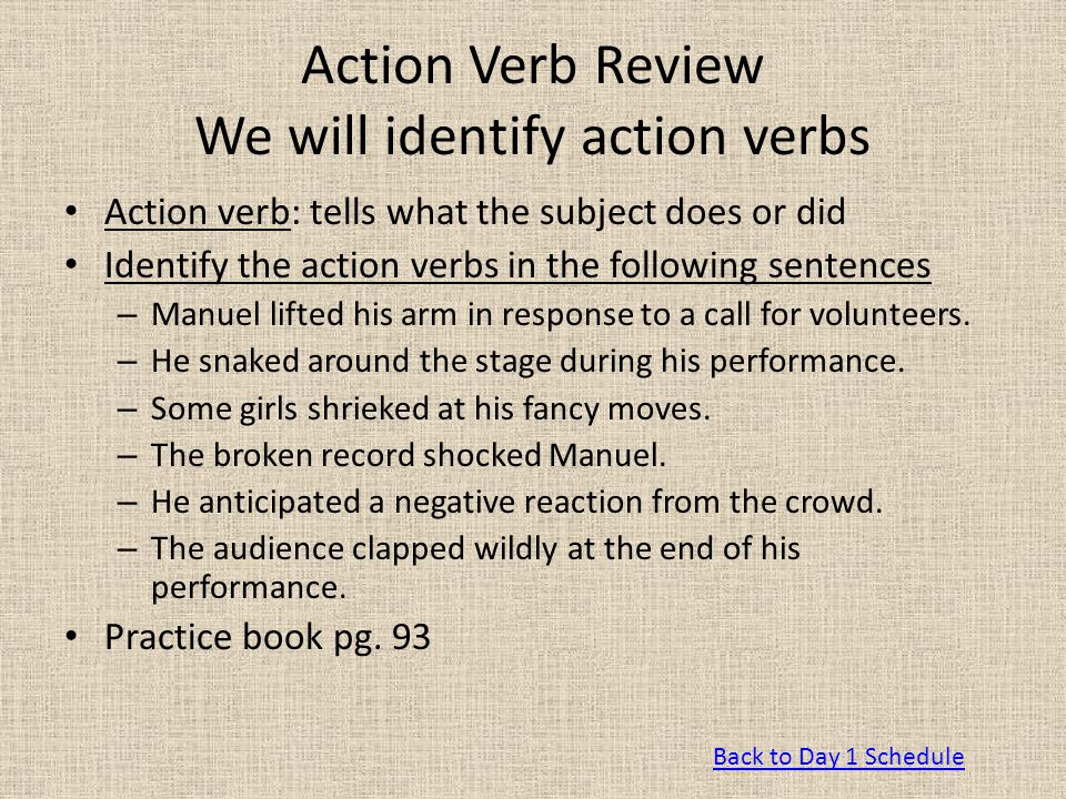 Action Verb Review We will identify action verbs