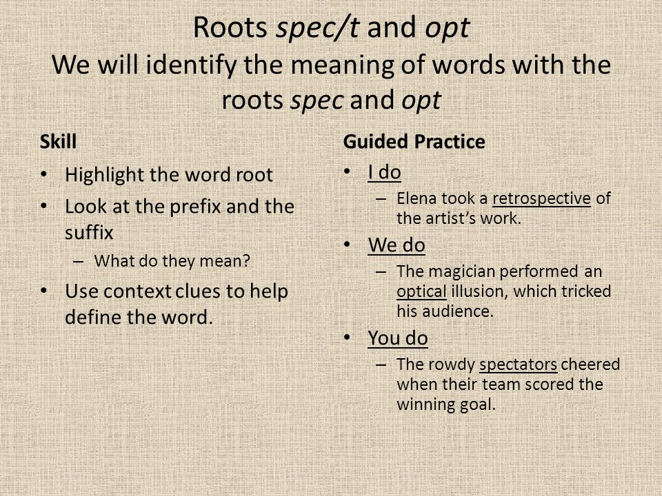 Roots spec/t and opt We will identify the meaning of words with the roots spec and opt