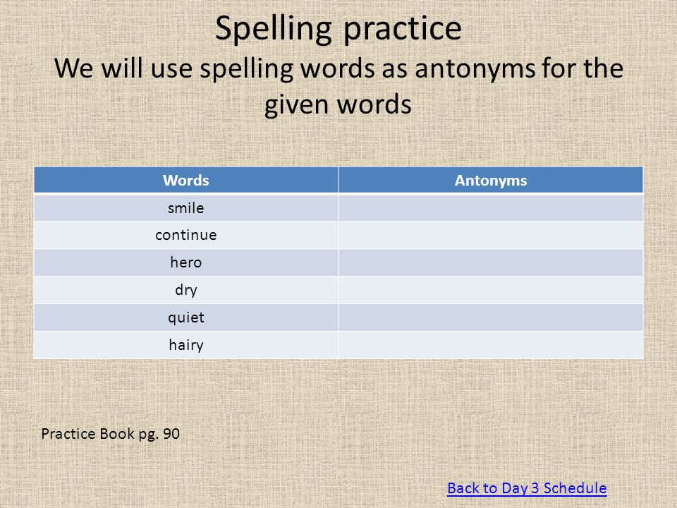 Spelling practice We will use spelling words as antonyms for the given words
