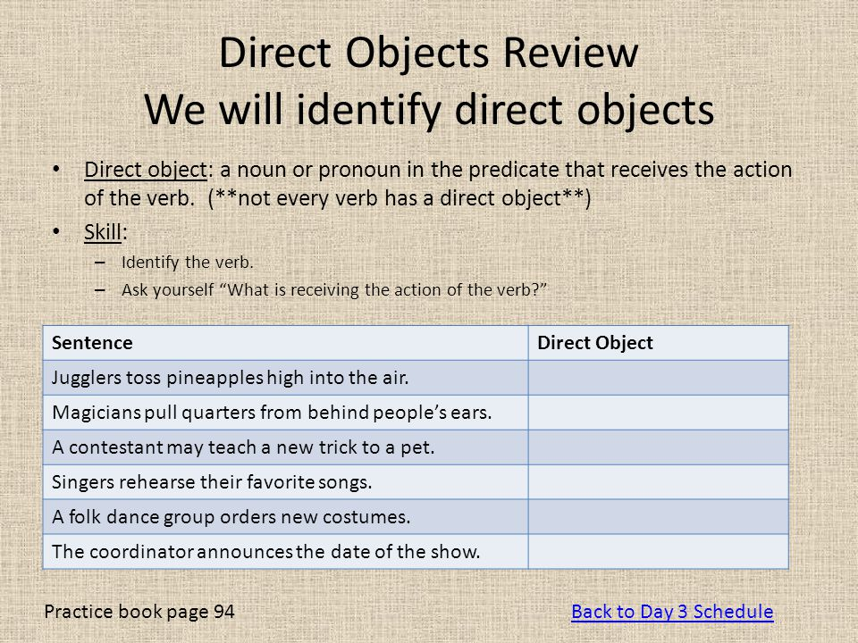 Direct Objects Review We will identify direct objects