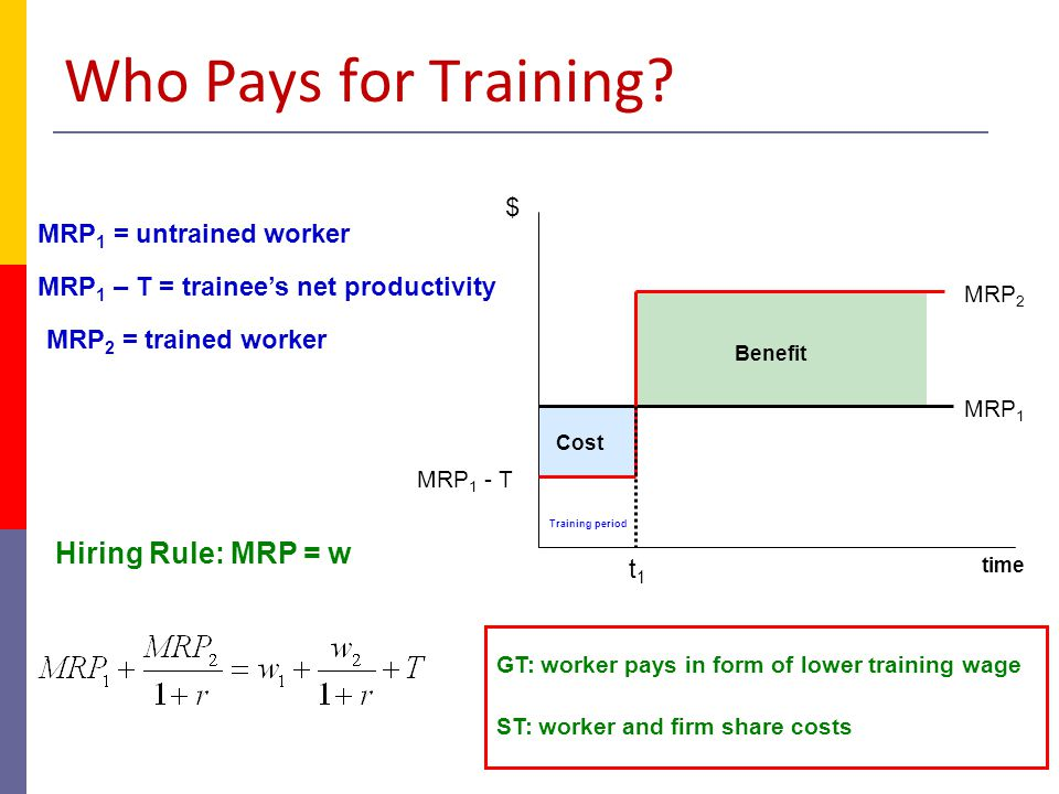 Who Pays for Training Hiring Rule: MRP = w $ MRP1 = untrained worker