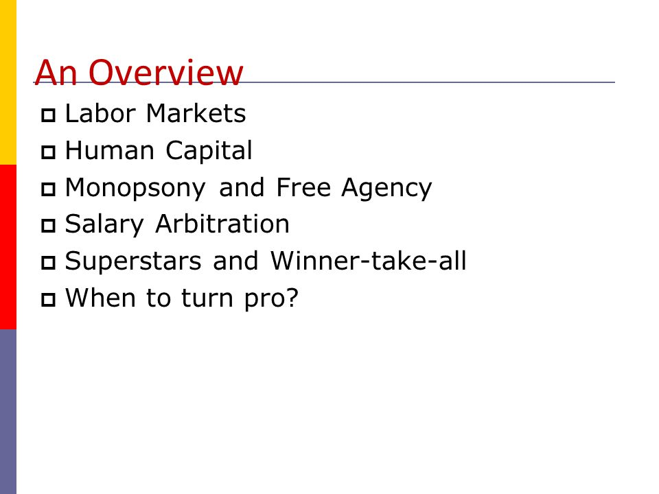 An Overview Labor Markets Human Capital Monopsony and Free Agency