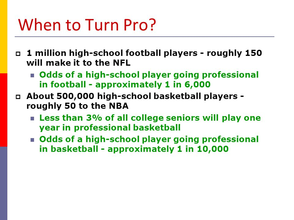 When to Turn Pro 1 million high-school football players - roughly 150 will make it to the NFL.
