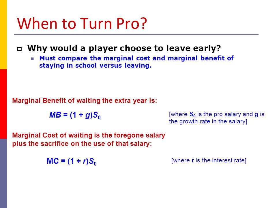 When to Turn Pro Why would a player choose to leave early