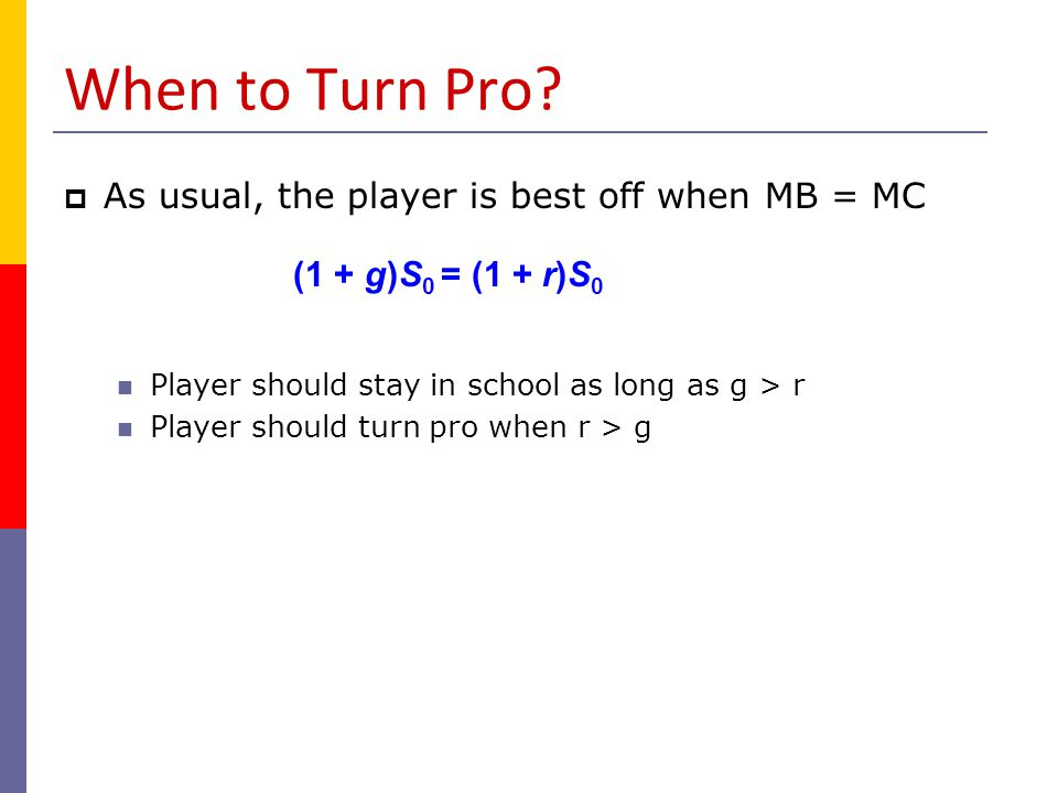 When to Turn Pro As usual, the player is best off when MB = MC