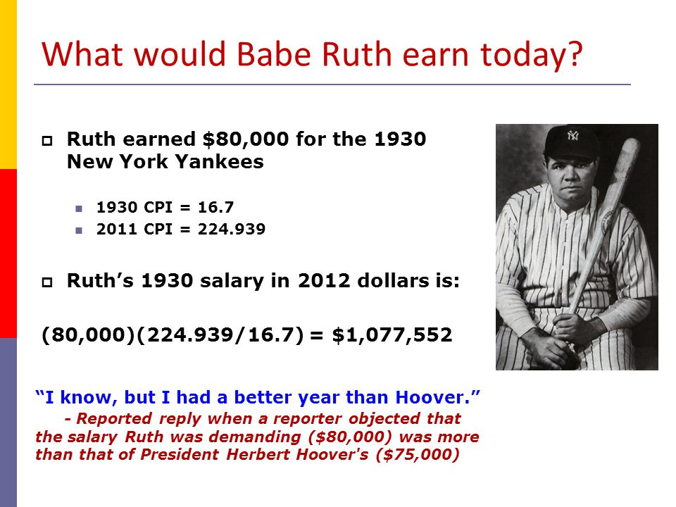 What would Babe Ruth earn today