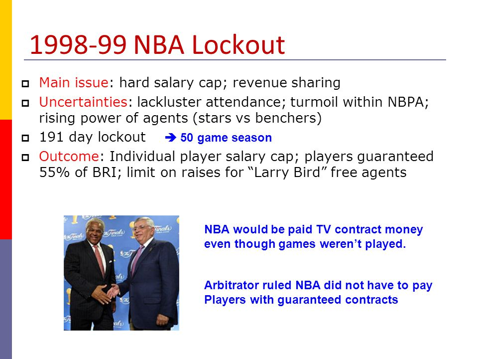 1998-99 NBA Lockout Main issue: hard salary cap; revenue sharing