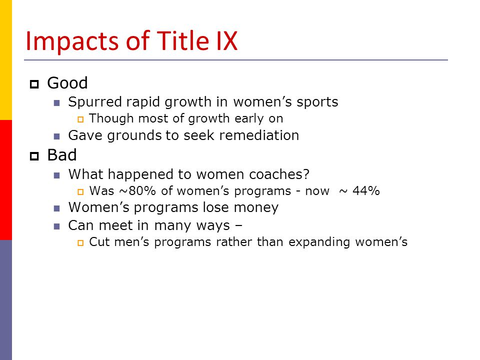 Impacts of Title IX Good Bad Spurred rapid growth in women's sports