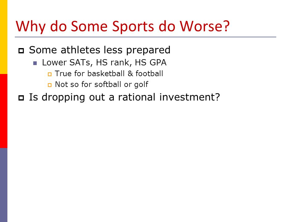 Why do Some Sports do Worse