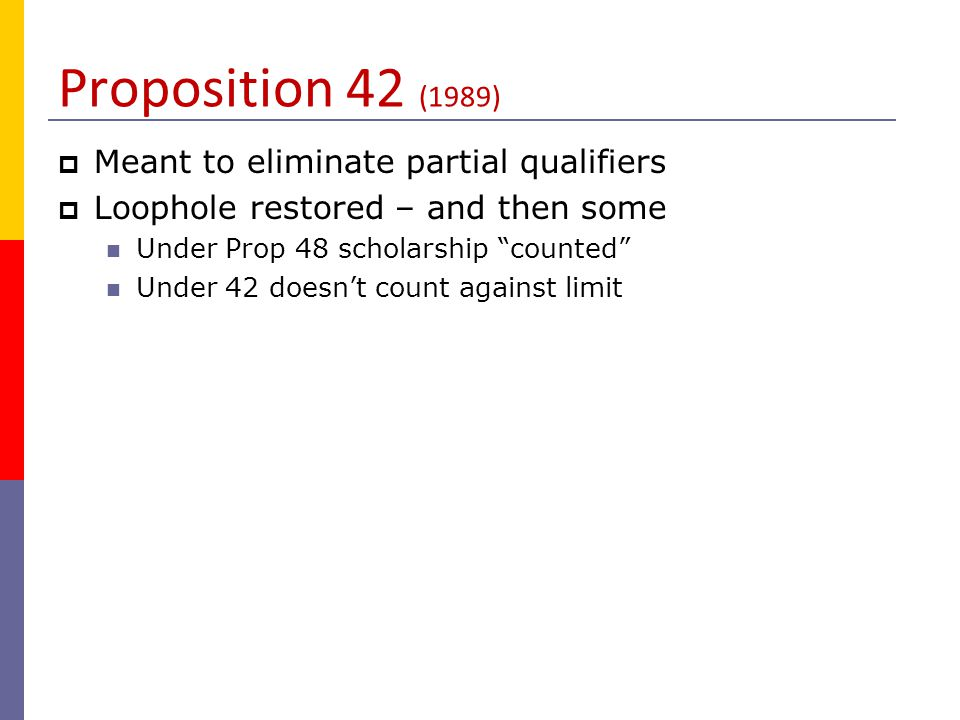 Proposition 42 (1989) Meant to eliminate partial qualifiers