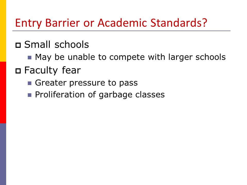 Entry Barrier or Academic Standards