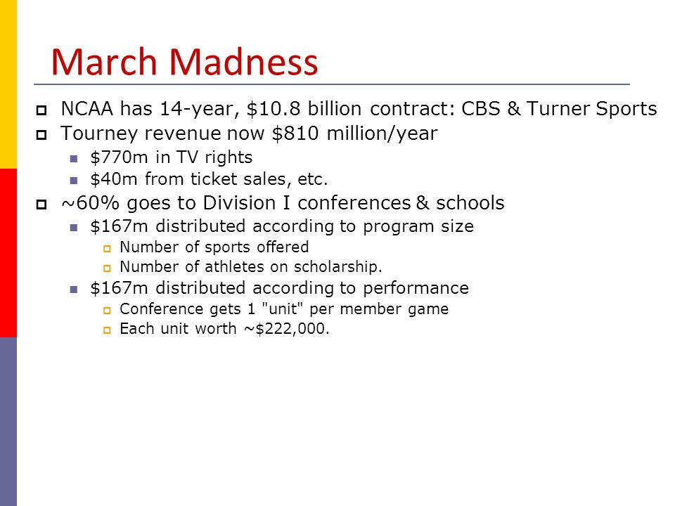 March Madness NCAA has 14-year, $10.8 billion contract: CBS & Turner Sports. Tourney revenue now $810 million/year.