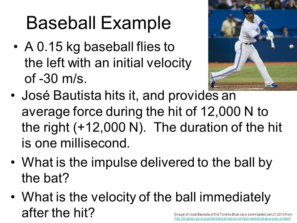 Baseball Example A 0.15 kg baseball flies to the left with an initial velocity of -30 m/s.