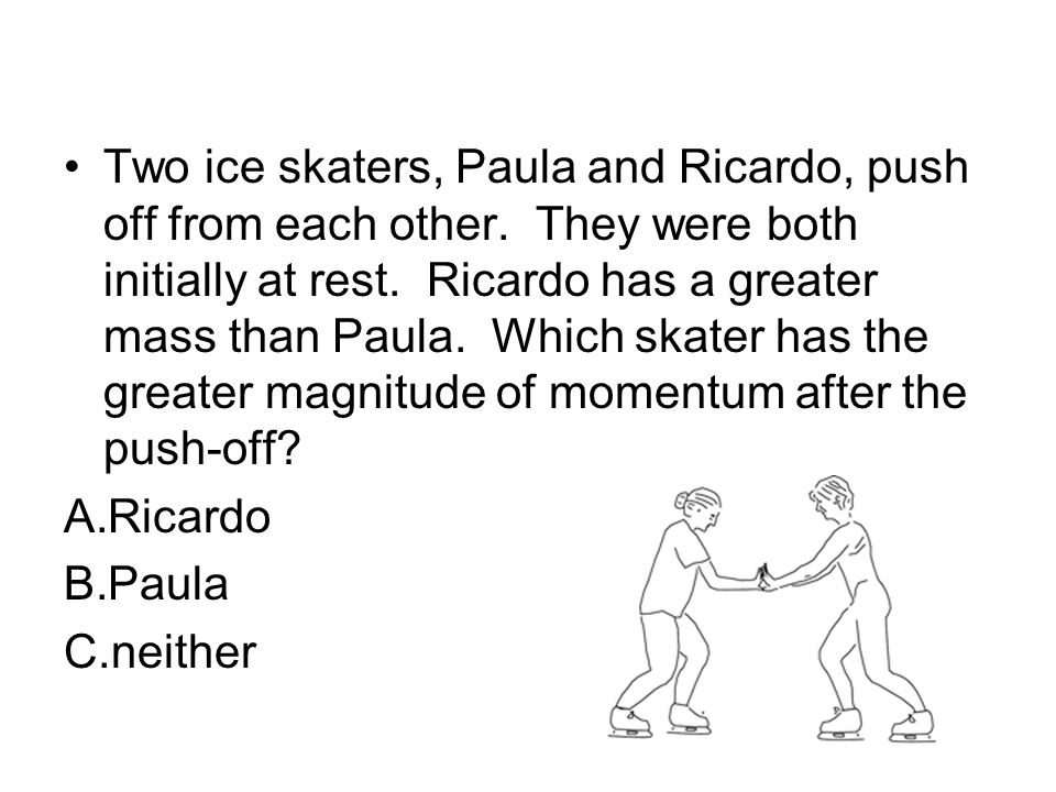 Two ice skaters, Paula and Ricardo, push off from each other
