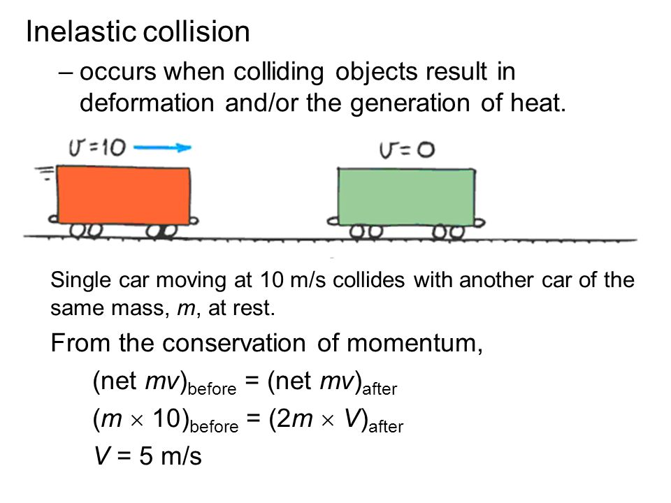 Inelastic collision occurs when colliding objects result in deformation and/or the generation of heat.
