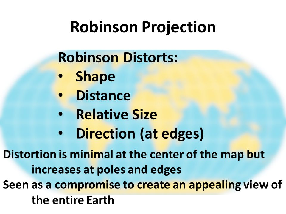 Robinson Projection Robinson Distorts: Shape Distance Relative Size