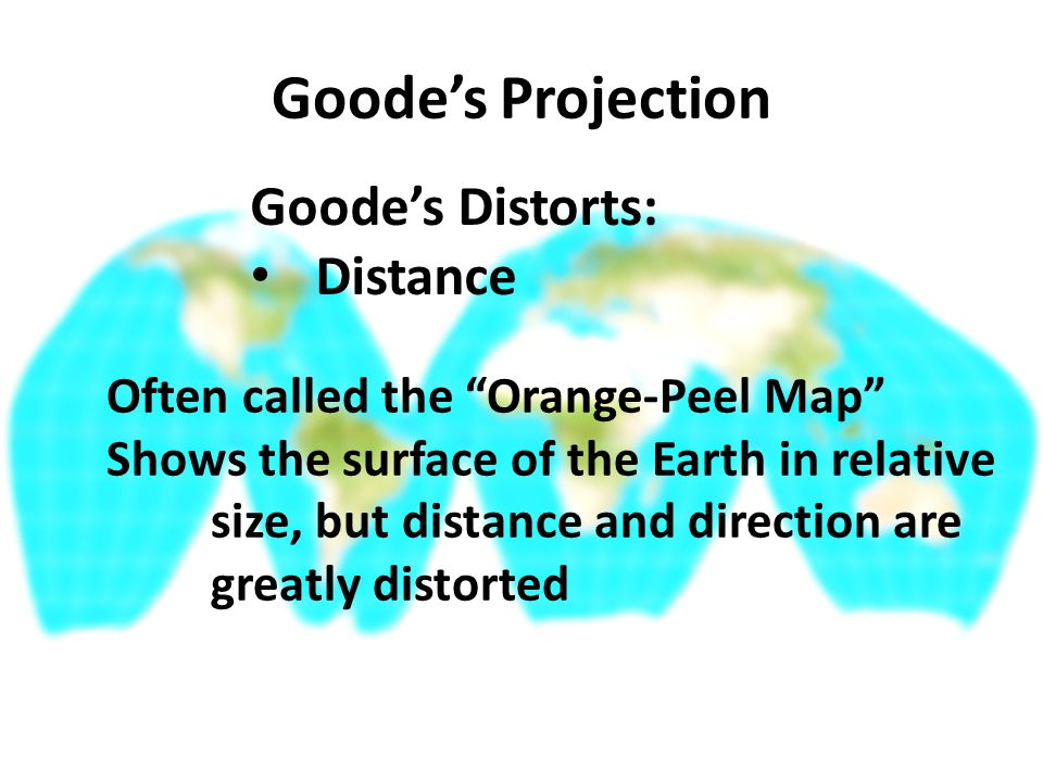 Goode's Projection Goode's Distorts: Distance