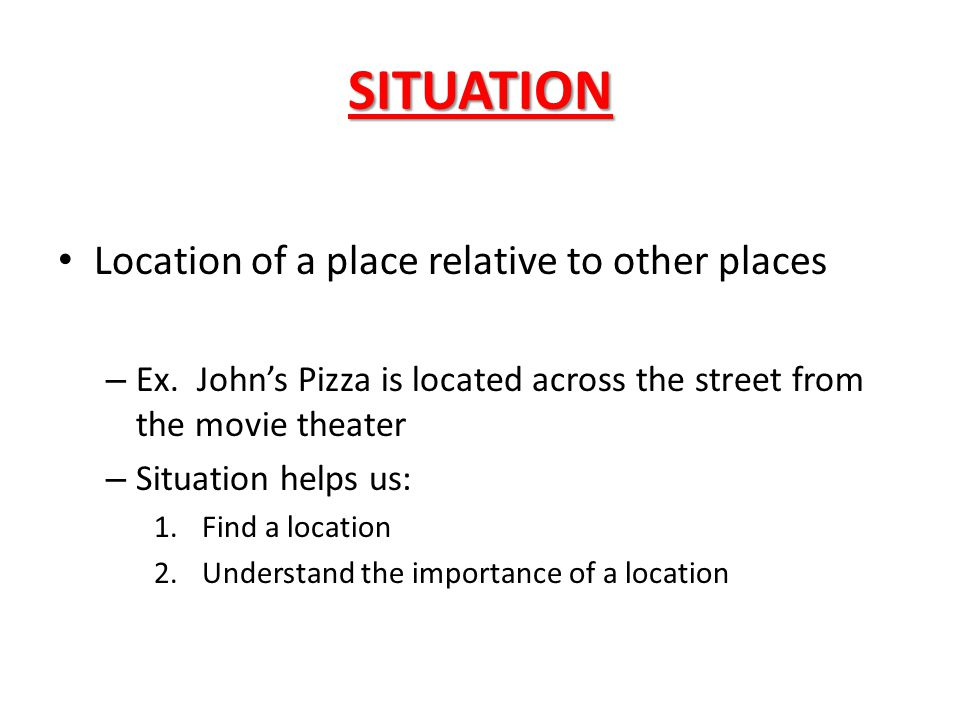 SITUATION Location of a place relative to other places