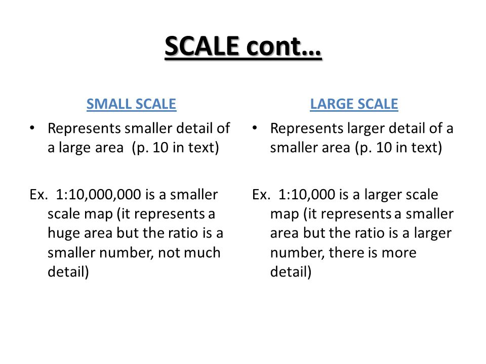 SCALE cont… SMALL SCALE LARGE SCALE