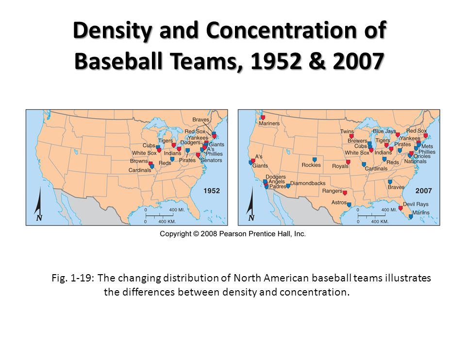 Density and Concentration of Baseball Teams, 1952 & 2007
